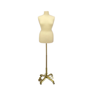 Female Dress Form Pinnable Mannequin Torso Size 18 20 With Gold Wheeled Base