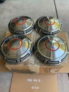 4 Stainless Mopar Dodge Dog Dish Hubcaps 69 71 Very Very Nice