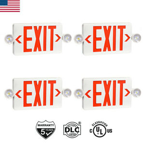 2 4pcs Ul listed Emergency Light red Led Exit Sign dual Lamp Abs Fire Resistance