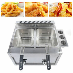 6l 2 Commercial Countertop Gas Fryer Liquefied Petroleum Cooker Stainless Steel