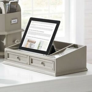 Dover White Wooden Tablet Multifuntional Desktop Counter Organizer W Drawers