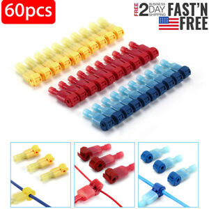 60pcs Insulated 22 10 Awg T taps Quick Splice Wire Terminal Connectors Combo Kit