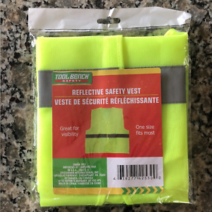Neon Safety Vest High Visibility Reflective Stripe Security Yellow Brand New