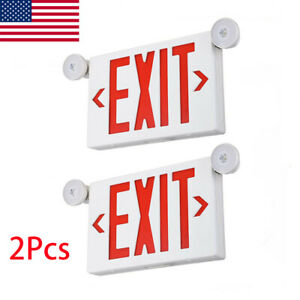 2pcs Ul listed Emergency Light red Led Exit Sign Dual Lamp Abs Fire Resistance