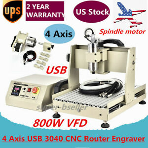 4 Axis Usb 3040 Cnc Router Engraver Vfd 3d Engraving Drill Milling Machine Usa