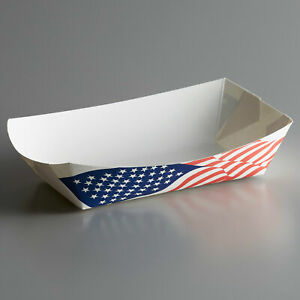 250 Pack 500 5 Lb Patriotic Red White And Blue Usa Flag Paper Food Tray
