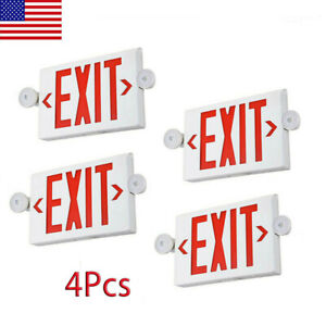 4pcs Emergency Light red Led Exit Sign Dual Lamp Abs Fire Resistance Ul listed