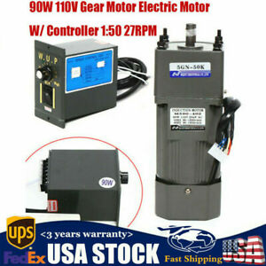 110v 90w Ac Gear Motor Electric Motor Variable Speed Controller 1 50 0 27rpm New