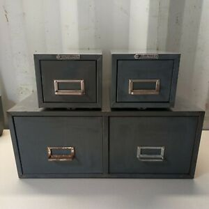 Lot Of 3 Steelmaster Metal File Cabinets Index Card Stackable