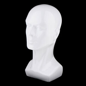 Male Mannequin Head Hair Wigs Hat Glasses Display Model Stand White