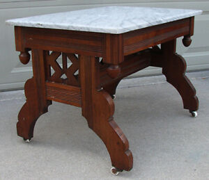 Charles Eastlake Era 1800 S Victorian Walnut Parlor Coffee Table With Marble Top