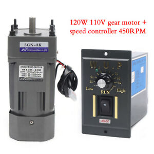 110v 120w Ac Gear Motor Electric variable Speed Reduction Controller 450rpm 3k