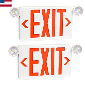 2pcs Emergency Light red Led Exit Sign Dual Lamp Abs Fire Resistance Ul listed