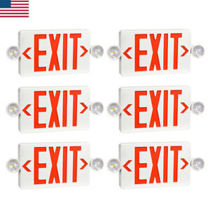 6 Pack Led Exit Sign Emergency Light Hi Output Red Compact Combo Ul listed