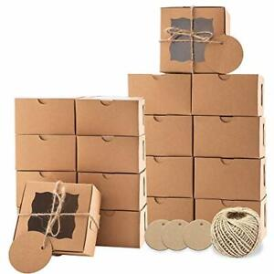 Lyfehack Cookie Dessert Boxes With Window 4x4x2 5 In 24pcs With Labels Twine