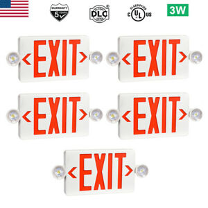 5 Pack Led Exit Sign Emergency Light Hi Output Red Compact Combo Ul listed