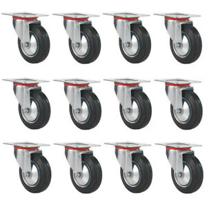 12 Pack Swivel Caster Wheels 3 Inch Rubber Base With Top Plate Bearing Heavy