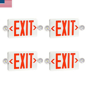 4 Pack Led Exit Sign Emergency Light Hi Output Red Compact Combo Ul listed