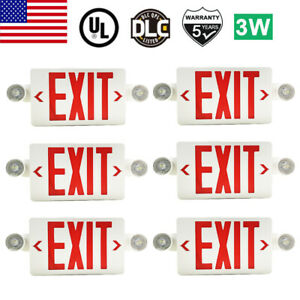 6 Pack Led Exit Sign Emergency Light Hi Output Red Compact Combo Ul listed New