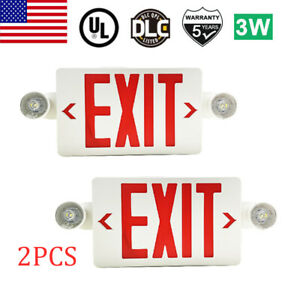 2pack Led Exit Sign Emergency Light hi Output Compact Combo Ul Listed Red Fire