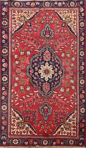Vintage Red Floral Traditional Hand Knotted Area Rug Wool Oriental 3x5 Ft Carpet