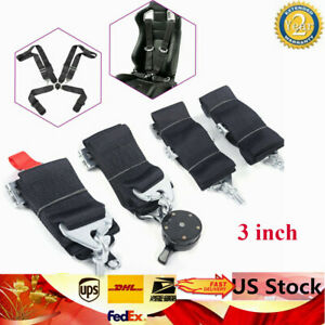 3 Inch 4 Point Camlock Quick Release Racing Seat Belt Harness Black Brand New