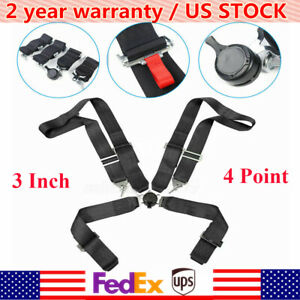 New 3 4 Point Sport Quick Release Safety Seat Belt Harness For Racing Car Black