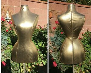 Womens Gold Mannequin Dress Form Custom Fit Curvy Jewelry Accessories Display