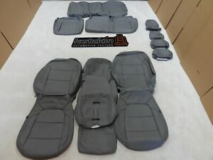 Leather Seat Covers Fits Chevrolet Silverado Crew Cab 2019 2021 Grey Dl71