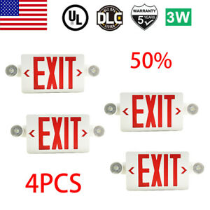 4pack Led Exit Sign Emergency Light hi Output Compact Combo Ul Listed Red Fire