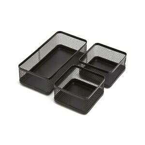 1intheoffice Mesh Collection Desk Drawer Organizer Tray 3 Compartment Stack