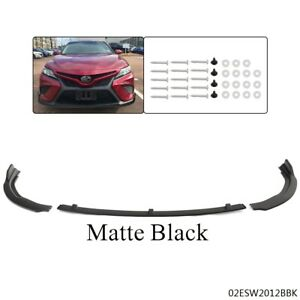 Front Body Kit Bumper Spoiler Lip 3pcs Fit For 2018 2020 Toyota Camry Black New