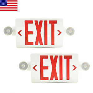 Led Exit Sign Emergency Light hi Output Compact Combo Ul Listed Red Fire 2pack