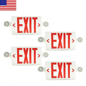 4pack Led Exit Sign Emergency Light hi Output Compact Combo Red Fire Ul Listed