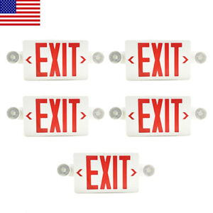 5pack Led Exit Sign Emergency Light hi Output Compact Combo Red Fire Ul Listed