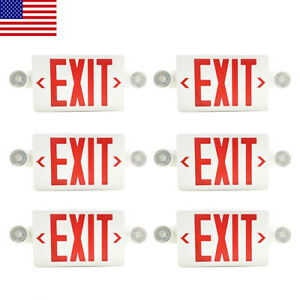 6pack Led Exit Sign Emergency Light hi Output Compact Combo Red Fire Ul Listed