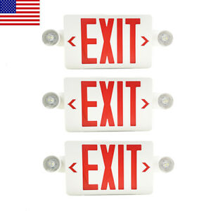 3pack Led Exit Sign Emergency Light hi Output Compact Combo Red Fire Ul Listed