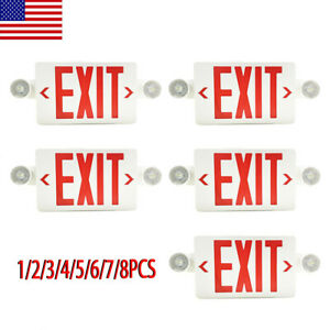2 4 5 6 8pack Led Exit Sign Emergency Light hi Output Compact Combo Red Fire Ul