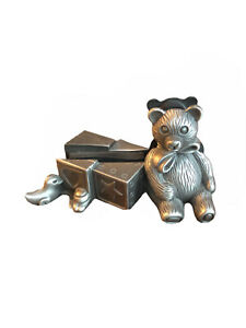 Vintage Miniature Pewter Teddy Bear Business Card picture Holder