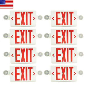 8pack Led Exit Sign Emergency Light hi Output Compact Combo Red Fire Ul Listed