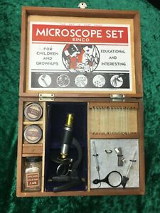 Rare Vintage Antique Collectable Brass Microscope Set With Original Wooden Box