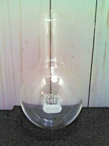 Pyrex Glass 250ml Long Neck Round Bottom Florence Flask Boiling Tooled Mouth