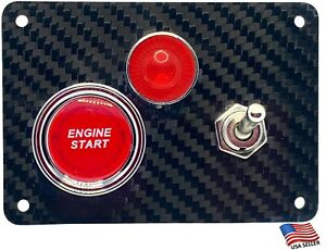 Real Carbon Fiber Panel 1 Silver Switch Red Indicator And A Red Push Start