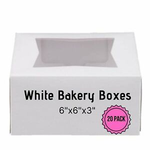 6 X 6 X 3 White Bakery Box With Window Auto popup 20 Pack
