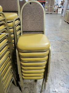 Used Banquet Chairs With Mustard Color Cushion lot Of 46