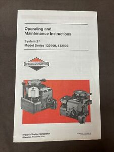 Briggs Stratton System 2 130900 132900 Vintage Owners Manual