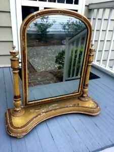19thc Early Large Table Top Dressing Mirror Original Paint Signed Pa Origin