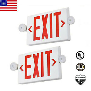 2pack Led Exit Sign Emergency Light Red Fire hi Output Compact Combo Ul Listed