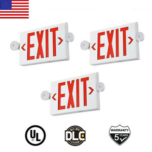 3pack Led Exit Sign Emergency Light Red Fire hi Output Compact Combo Ul Listed
