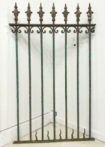57 Tall Antique French Wrought Iron Panel Fence Gate Trellis With Fleur De Lis